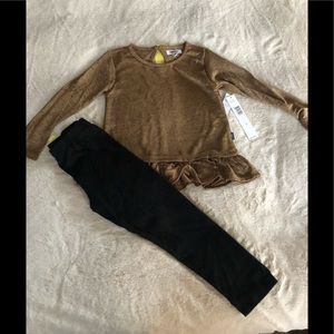 DKNY Girl's Fancy Holiday Outfit Gold Top Leggings